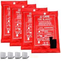 """JJ Care Fire Blanket Pack 4 Fire Fighting Suppression Blanket Fiberglass Cloth Suitable for Camping, Grilling, Kitchen Safety, Car and Fireplace Fire Retardant Blanket for Emergency 40""""x40"""" with Hooks"""