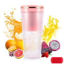 EASYXQ Portable Blender, Personal Size Blender for Smoothies and Shakes, 12OZ Mini Small Blender, Usb Rechargeable, Food Grade Mini Jucie Cup with Silicone Ice Cube Tray (Pink)