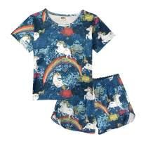 ModaIOO Girls Pajamas Short Set Unicorn Dinosaur Butterfly Rainbow Top Tee Shirt Bottom Shorts 2 Pieces Sleepwears Sets