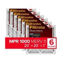 Filtrete 20x20x1, AC Furnace Air Filter, MPR 1000, Micro Allergen Defense, 6-Pack