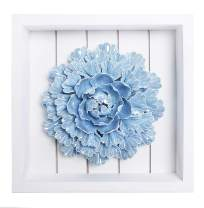 Bico Handcrafted Porcelain Iridiscent Light Blue Peony Sculpture with Wooden Frame Wall Decoration, 3D Wall Art, House Warming, Wedding, Birthday Gift, for Dining Room, Bedroom, Living Room Wall