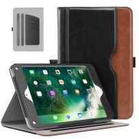 MoKo Case Fit 2018/2017 iPad 9.7 6th/5th Generation/iPad Air/iPad Air 2 Tablet - Slim Folding Stand Folio Cover Case with Document Card Slots, Multiple Viewing Angles, Black & Brown