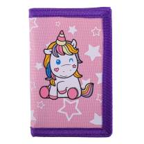 RFID Blocking Wallet for Kids/Slim Cartoon Wallet with Zippered Pocket/Trifold Canvas Outdoor Sports Wallet, Unicorn