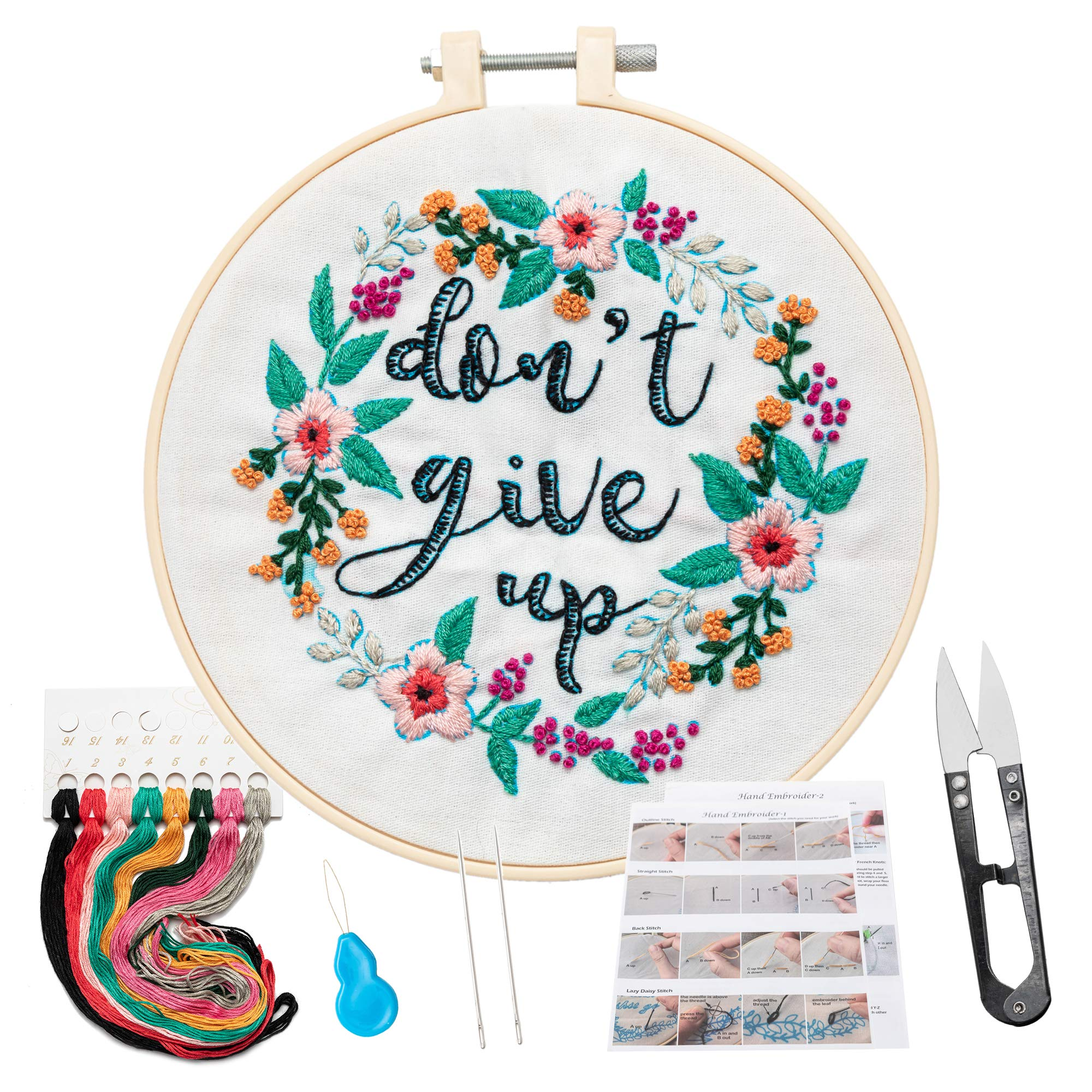 KHALEE Full Set of Hand-Made Embroidery Starter Kit, Cross Stitch Kits for Beginners Including Patterned Embroidery Cloth, Plastic Hoop,Color Floss,Tools Kit(Don't Give Up,6 Inches in Diameter)