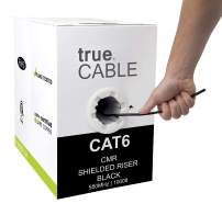 trueCABLE Cat6 Shielded Riser (CMR), 1000ft, Black, 23AWG Solid Bare Copper, 550MHz, ETL Listed, Overall Foil Shield (FTP), Bulk Ethernet Cable