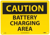 "NMC C97RB OSHA Sign, Legend ""CAUTION - BATTERY CHARGING AREA"", 14"" Length x 10"" Height, Rigid Plastic, Black on Yellow"