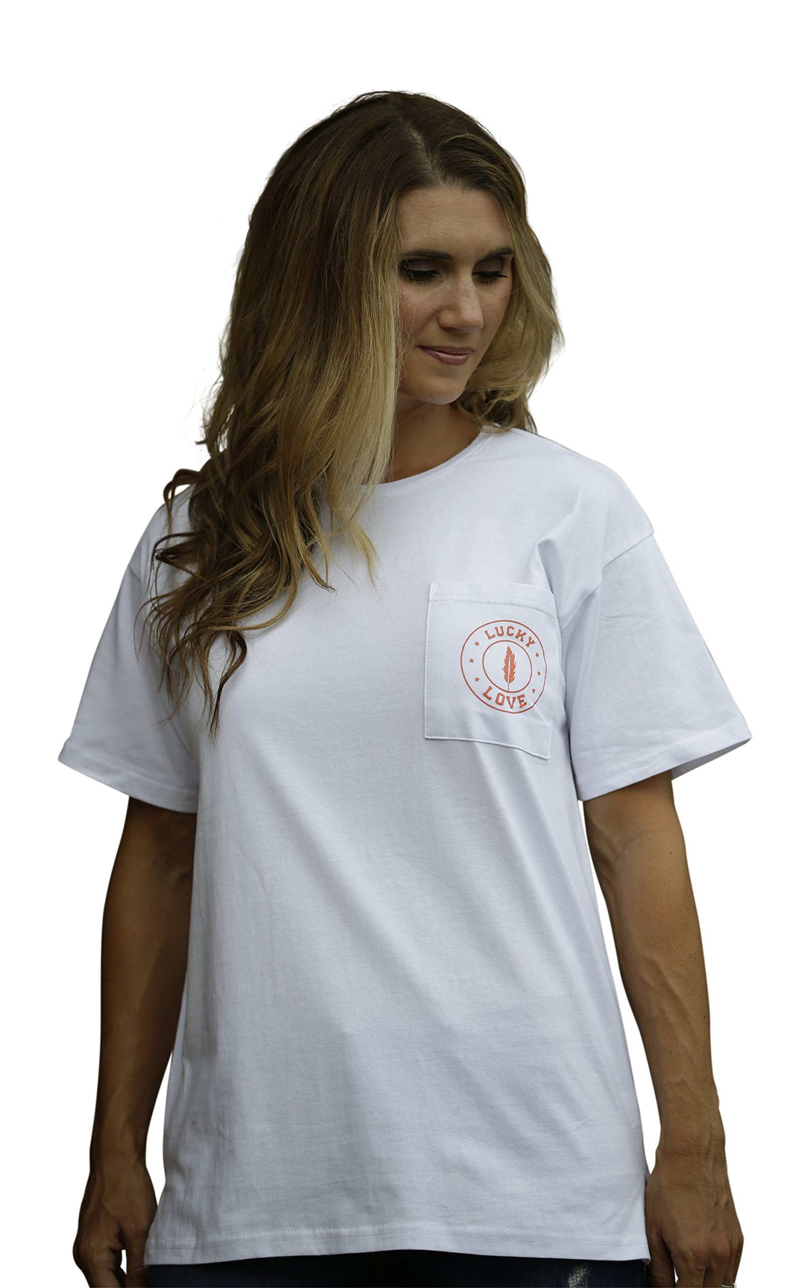 Lucky Love Graphic Long or Short Sleeve T Shirt for Women & Plus Size - Relaxed Fit & Longer Length