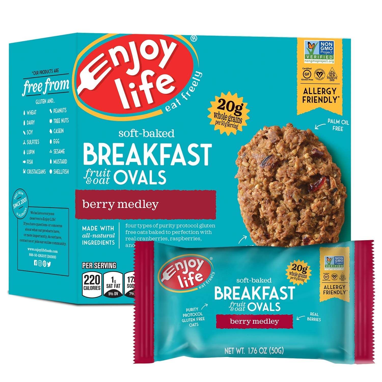 Enjoy Life Gluten Free Nut Free & Vegan Breakfast Cookies, Berry Medley, 6 Count Boxes, 30 Bars