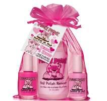 Piggy Paint Non-toxic Girls Nail Polish Kit - Chemical Free Fingernail Polish - Cuddles and Kisses (Light Pink, Bright Pink, Remover)
