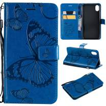 Cmeka Emboss Butterfly Wallet Case for iPhone XR 6.1 Inch (2018),Wrist Strap,Flip PU Leather Magnetic Closure,Card Slots,Kickstand Function (Blue)
