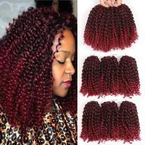8 Inch Short Marlybob Crochet Hair 6 Bundles Short Passion Twist Hair Kinky Curly Crochet Hair Kinky Twist Crochet Hair Jerry Curl Crochet Hair Kinky Crochet Hair Braids Curly Crochet Hair For Black Women (1B/Burgundy)