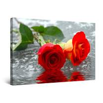 Startonight Canvas Wall Art - Roses on The Water, Flowers Framed 32 x 48 Inches