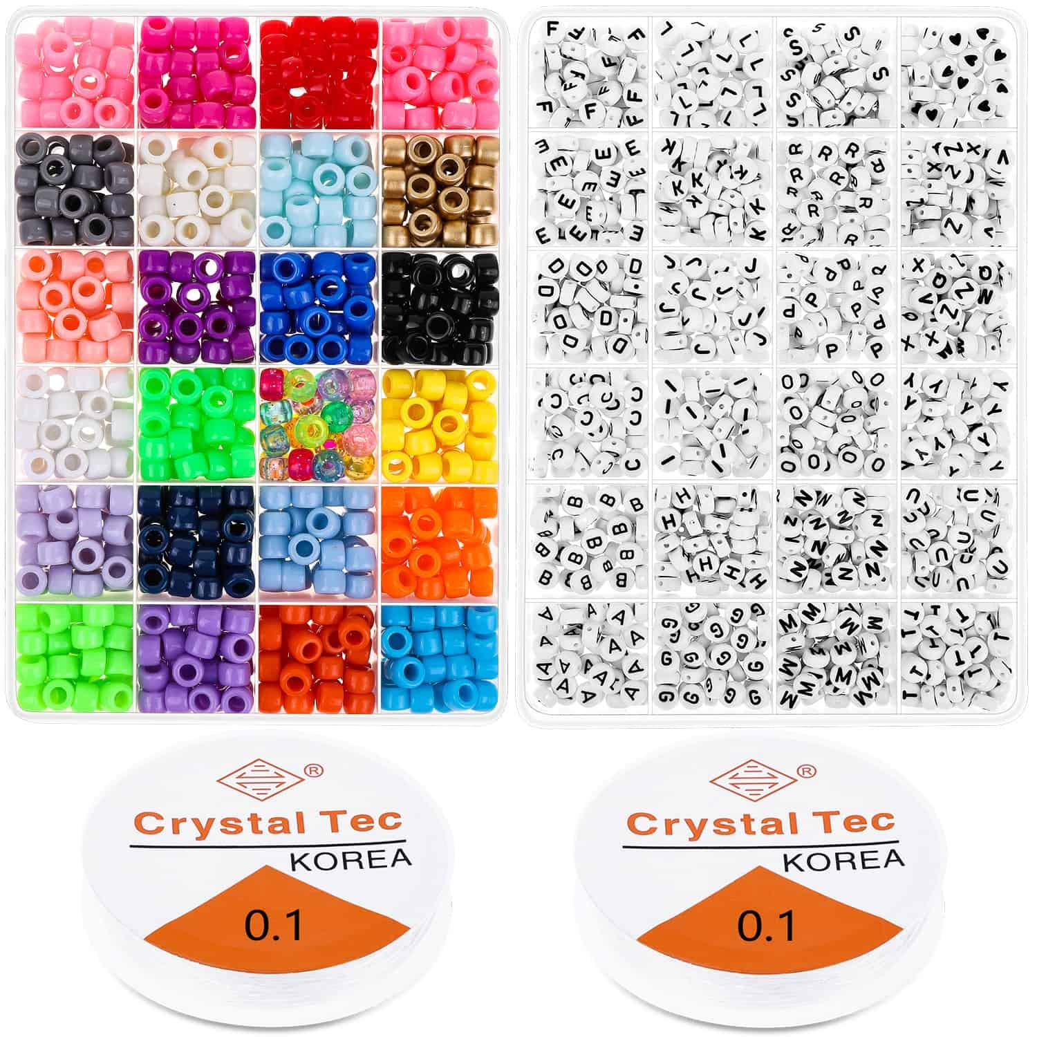 Pony Beads for Bracelets, Cridoz Bead Bracelet Making Kit Include 24 Colors Pastel Pony Beads and Letter Beads Round for Bracelets Jewelry Making