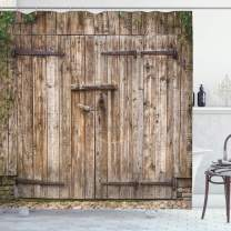 """Ambesonne Rustic Shower Curtain, Old Oak Closed Garage Door with Steel Hinges Vintage Typical Cottage Doorway Image, Cloth Fabric Bathroom Decor Set with Hooks, 84"""" Long Extra, Tortilla"""