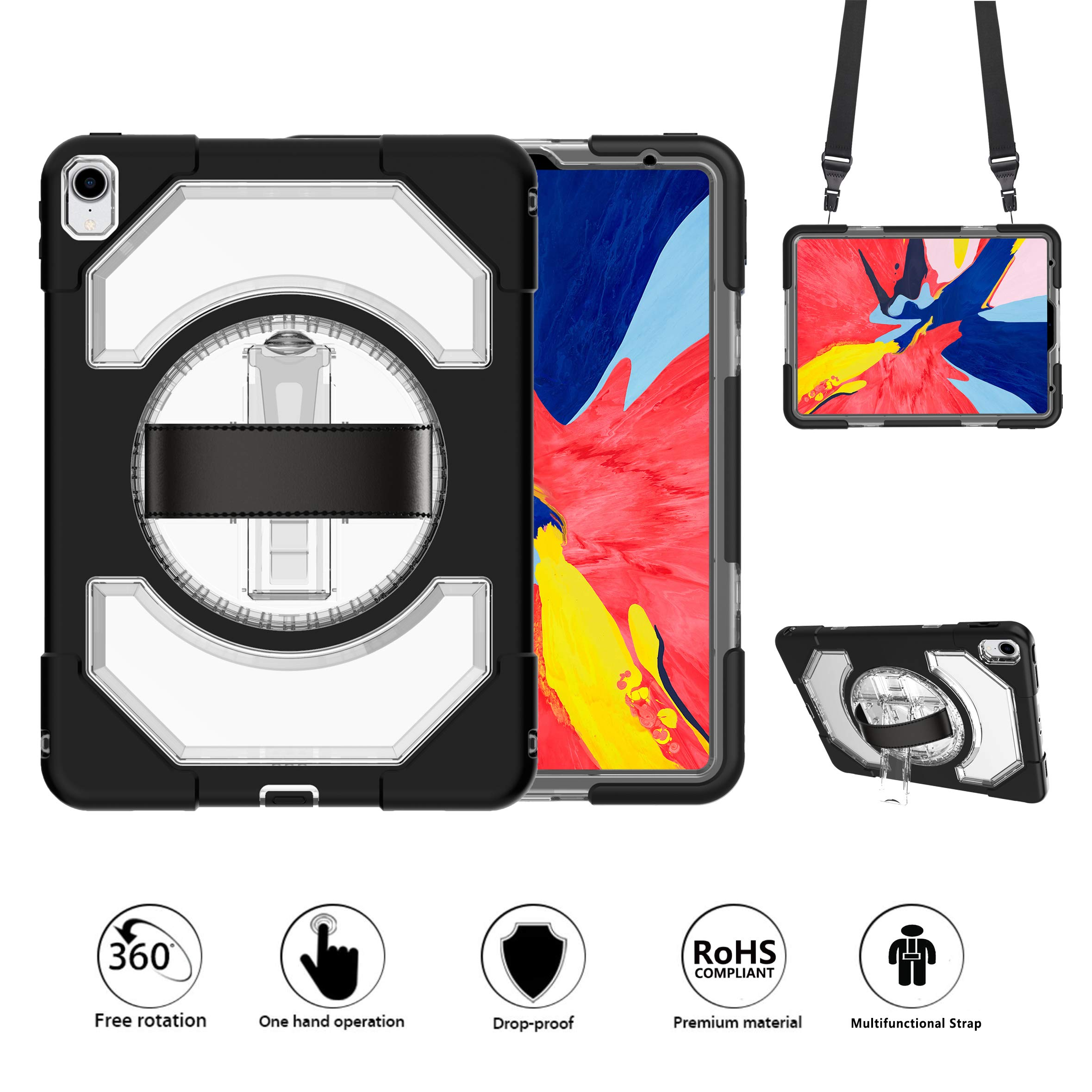 New iPad Pro 11 Case,GROLEOA 360 Degree Rotatable Handstrap Shoulder Strap (3 Layer Heavy Duty) Case with Kickstand, Kids Proof 11 Inch iPad Pro Case 2018 Release A1934 A1980 A2013 A1979 (Clear+Black)