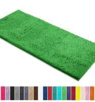 LuxUrux Bath Mat-Extra-Soft Plush Bath Shower Bathroom Rug,1'' Chenille Microfiber Material, Super Absorbent Shaggy Bath Rug. Machine Wash & Dry (21 x 59 Inch, Green)