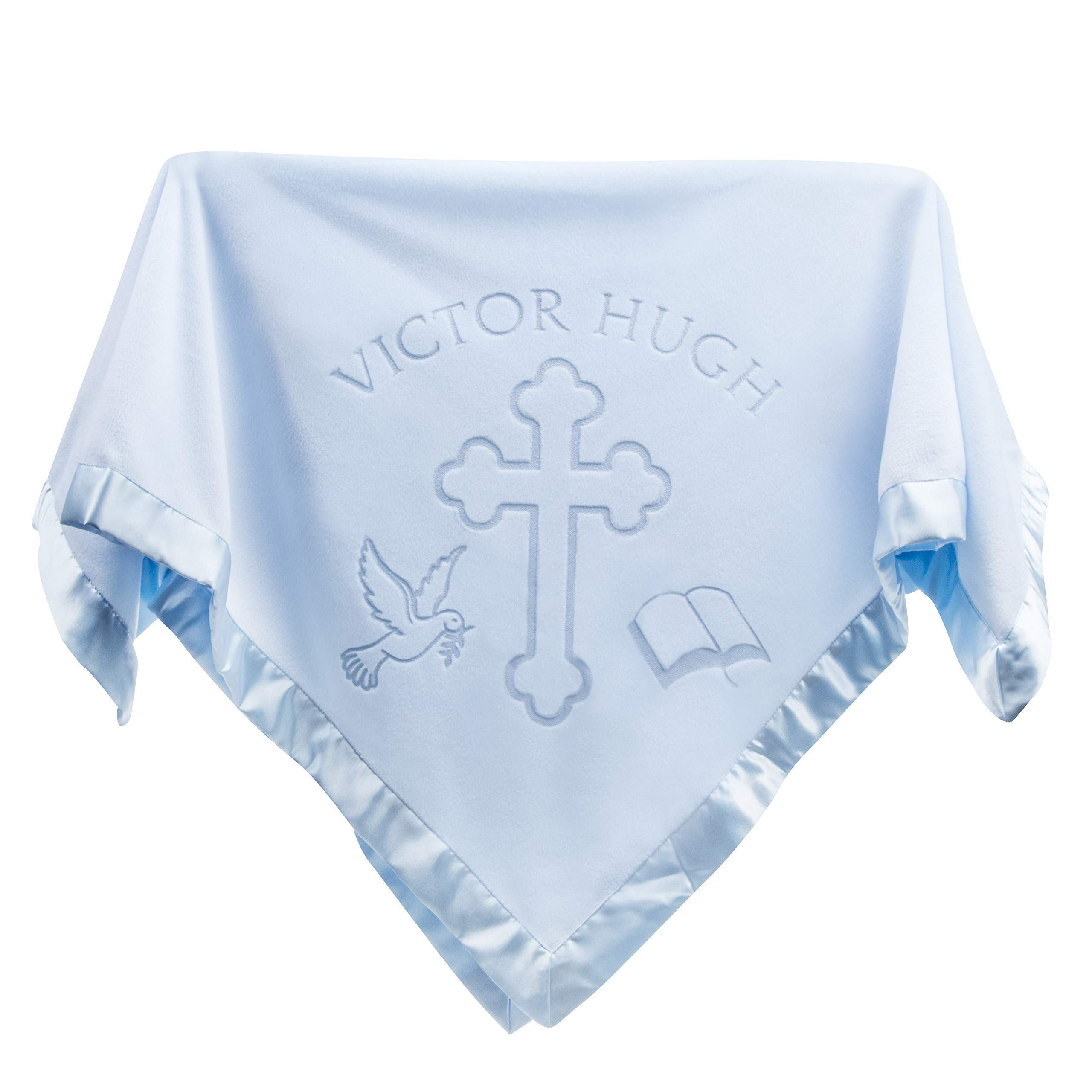 Custom Catch Personalized Baptism Baby Blanket Gift - Boy Name for Christening (Blue, 1 Text Line)