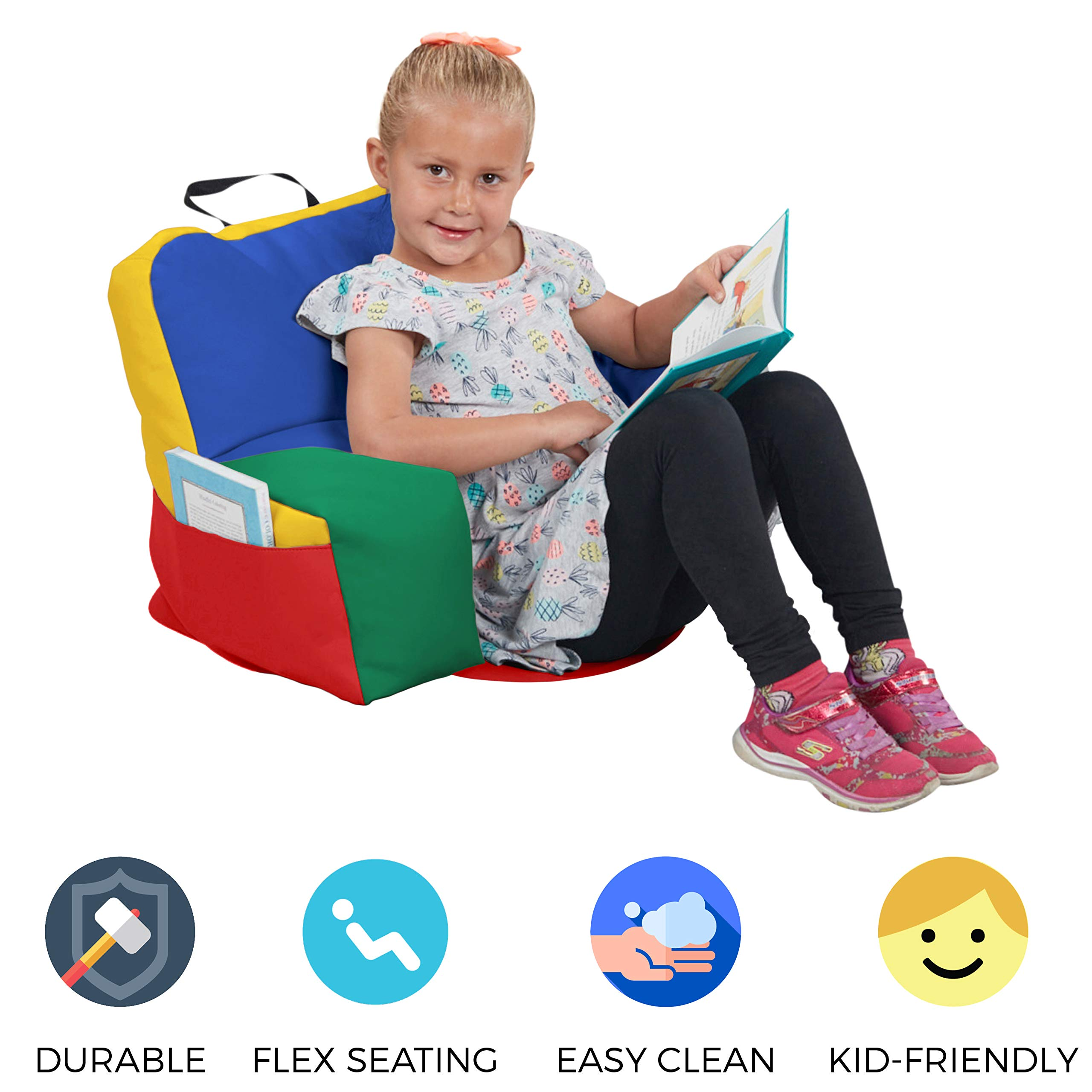 FDP SoftScape Relax-N-Read Bean Bag Chair with Supportive Back Rest and Storage Pockets, Flexible, Portable, Alternative Seating for Toddlers, Preschoolers, and Kids - Assorted