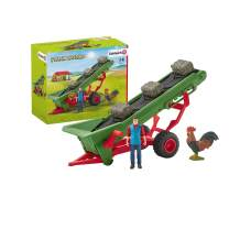 SCHLEICH FBA_42377 Farm World Hay Conveyor with Farmer Toy