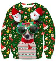 uideazone Unisex Ugly Christmas Sweater Digital Christmas Dog with Glasses Print Crew Neck Pullovers Sweatshirts Green
