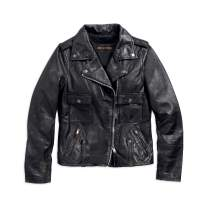 Harley-Davidson Women's Wild Distressed Leather Biker Jacket, Black