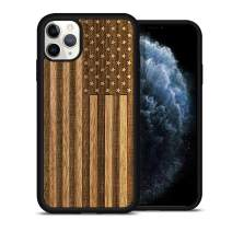 JuBeCo iPhone 11 Pro Case Wood, Natural Slim Eleghant Wooden Protective Cover with Rubber Bumper for iPhone 11 pro 5.8-inch (Us Flag-Walnut)