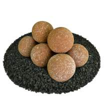 Ceramic Fire Balls | Set of 8 | Modern Accessory for Indoor and Outdoor Fire Pits or Fireplaces – Brushed Concrete Look | Burnt Orange, Speckled, 5 Inch