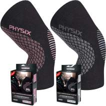 Physix Gear 2 Pack of Knee Support Brace Compression Sleeve in (1Grey + 1Pink) S Size