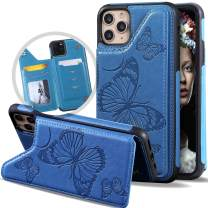 Vodico iPhone 11 Pro Max Wallet Case with Card Holder for Women/Girl, Slim Cute Girly Embossed Butterfly Leather Thin Folio Flip Magnetic Clasp Purse Phone Cover with Credit Card Slot&Stand (Blue)