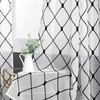 Top Finel White Sheer Curtains 72 Inch Length Black Embroidered Diamond Grommet Window Curtains for Living Room Bedroom, 2 Panels