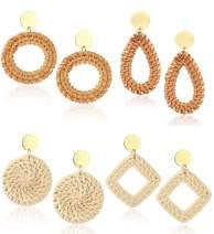 Jstyle 4Pairs Handmade Rattan Hoop Earrings for Women Girls Boho Straw Wicker Woven Drop Earrings Dangle Geometric Statement Earrings Summer Jewelry