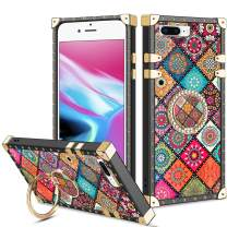 Vofolen for iPhone 8 Plus Case iPhone 7 Plus Case Ring Holder Kickstand Exotic Colorful Square Protective Soft Shell Fold-able Clip Anti-Slip Finger Loop Cover for iPhone 7+ 8+ 5.5 (Mandala Flower)