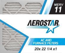 Aerostar 20x22 1/4x1 MERV 11, Pleated Air Filter, 20 x 22 1/4 x 1, Box of 6, Made in The USA