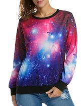 ACEVOG Women's Long Sleeve Pullover Hooded Cute 3D Galaxy Printing Sweatshirts Casual Loose Hoodie Tunic Top