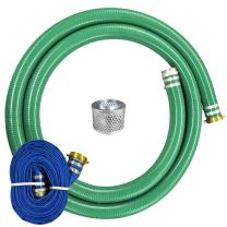 "JGB Enterprises Eagle Hose PVC/Aluminum Water/Trash Pump Hose Kit, 3"" Green Suction Hose Coupled M x F WS, 3"" Blue Discharge Hose Coupled M x F WS, 29 Vacuum Rating, 70 PSI Maximum Temperature, 25' Length, 3 ID"