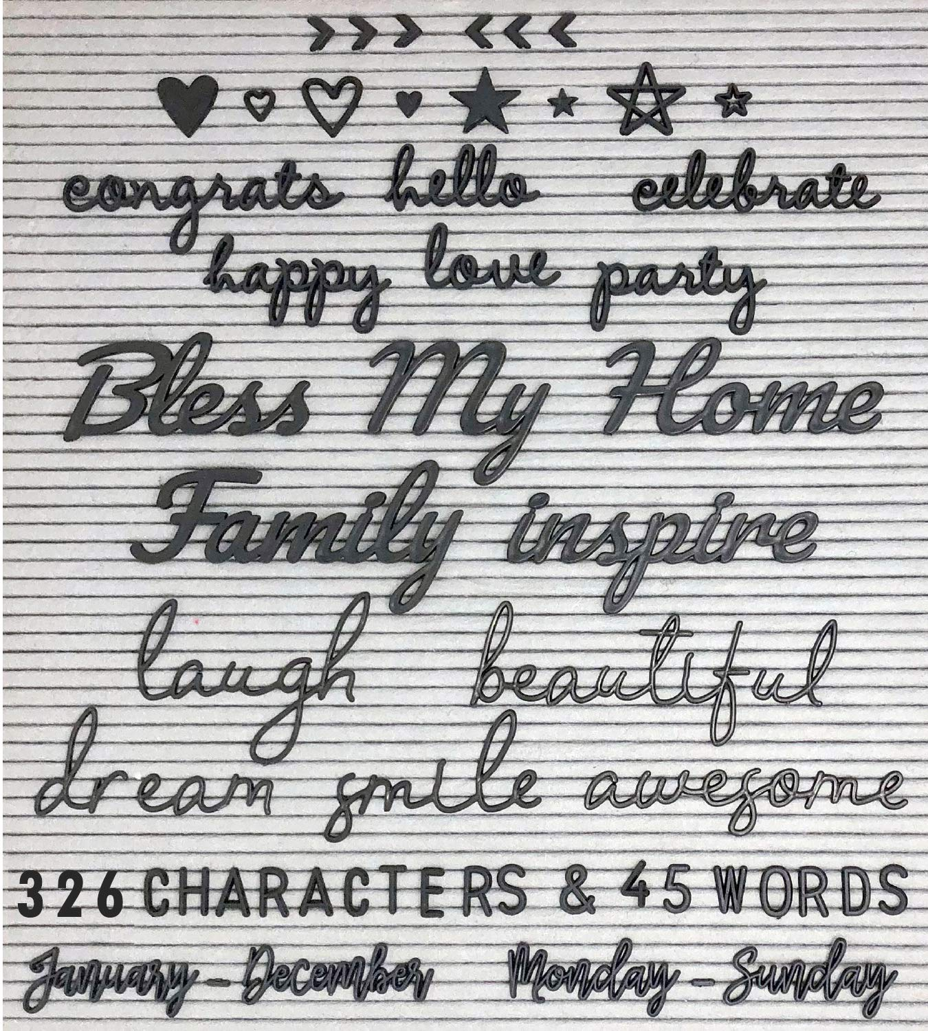 Black Letter Board Letters and Words for Changeable Letter Boards and Felt Letterboards - 371 Piece Mega Bundle | 45 1-3 Inch Cursive Words | Characters, Letters, Symbols | Birth Announcements
