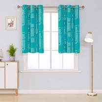 Deconovo Thermal Insulated Blackout Curtains for Bedroom Square Print Noise Reducing Draperies Grommet Window Treatment Panels, 38x45 Inch, Turquoise