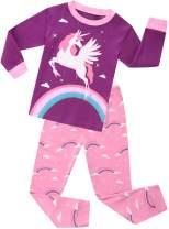Girls Pajamas Sleepwear Clothes 100% Cotton PJS for Toddlers Children Kids Unicorn Pattern