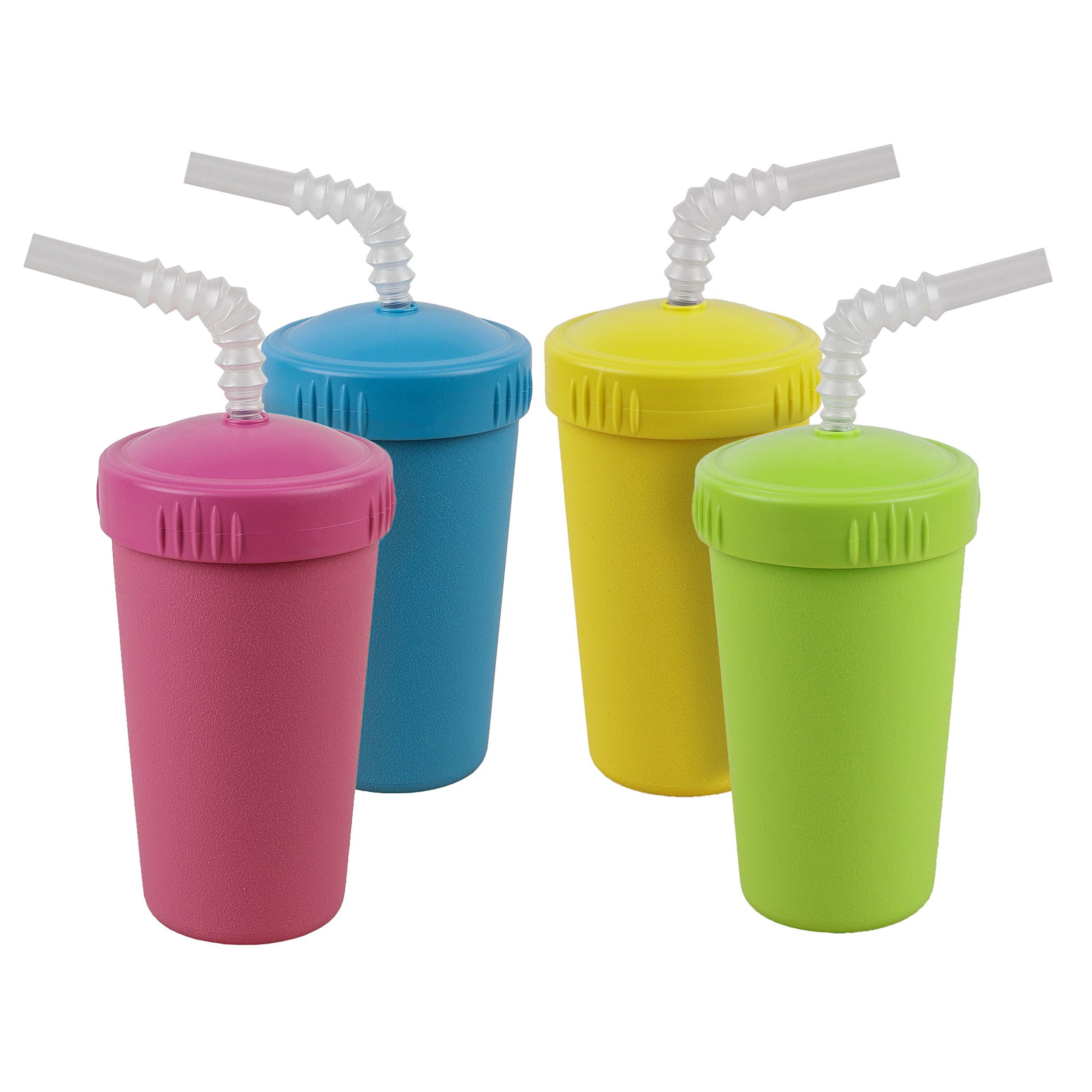 Re-Play Made in USA 4pk Straw Cups with Bendable Straw in Bright Pink, Sky Blue, Yellow and Lime Green   Made from Eco Friendly Heavyweight Recycled Milk Jugs - Virtually Indestructible (Easter+)