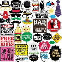 Bachelor Party Photo Booth Props - 37 Pieces - Funny Bachelor Party Ideas, Supplies, Gifts, Decorations and Favors