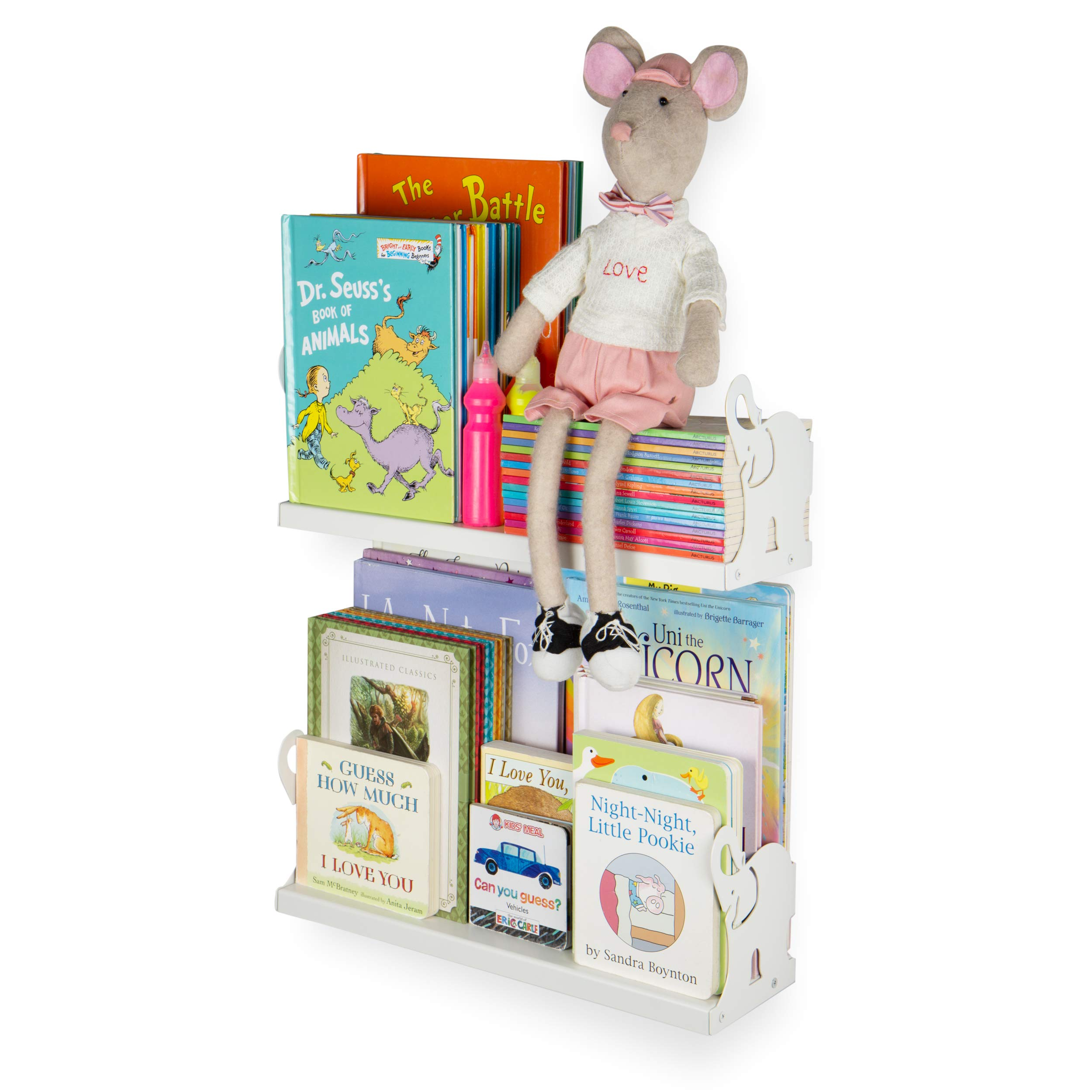 Wallniture Animo Floating Shelf for Books, Toys and Picture Frames I White Bookshelf for Kids Bedroom and Nursery Room I 17 Inches Set of 2