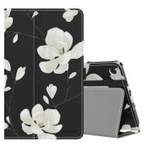 MoKo Case Fits Kindle Fire 7 Tablet (9th Generation, 2019 Release), Premium PU Leather Slim Folding Stand Shell Multiple Viewing Angles Cover with Auto Wake/Sleep - Black & White Magnolia