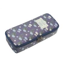 Twinkle Club Cute Floral Pencil Pen Case Bag Pouch Holder for Middle High School College Office Girl Storage Navy Blue