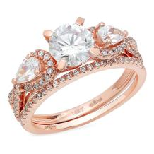 Clara Pucci 2.2 Ct Round Pear Cut Pave Halo Engagement Promise Wedding Bridal Anniversary Ring Band Set 14K Rose Gold