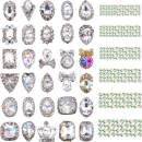 2030 Pieces 3D Crystal AB Color Flat Back Rhinestones Nail Art DIY Crafts Gemstones with Nail Art Gem Stones(Shiny Style)