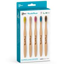 The Humble Co. Natural Bamboo Toothbrushes (5pk) - Wooden, Organic, Vegan, Eco-Friendly and Biodegradable Toothbrush for Zero Waist Oral Care (Adult, Soft)