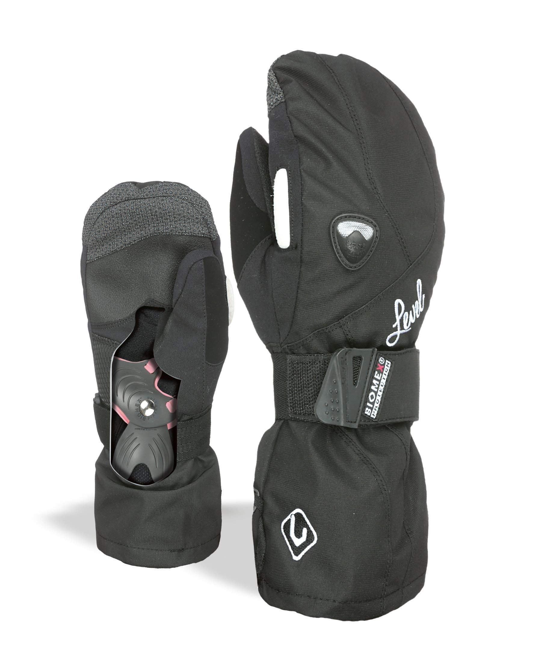 LEVEL Butterfly Women's Snowboard Mittens with Wrist Guards, Proven BioMex Design, Kevlar Palms, Removable Liner