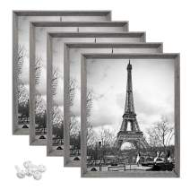 upsimples 8x10 Picture Frame with Real Glass,Rustic Photo Frames for Wall or Tabletop Display,Set of 5,Light Grey