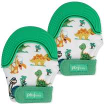 PBnJ baby Silicone Infant Teething Mitten Teether Glove Mitt Toy with Travel Bag-Dinosaur 2pk