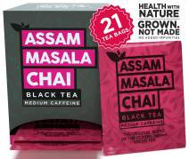 The Tea Trove Assam Black Masala Chai Tea Bags, 100% Natural , Organic Spices Cinnamon, Cardamom, Clove and Ginger for rich and flavorful Hot Indian Tea or Iced chi Tea- (20 Tea Bags+ 1 Tea Bag Free)